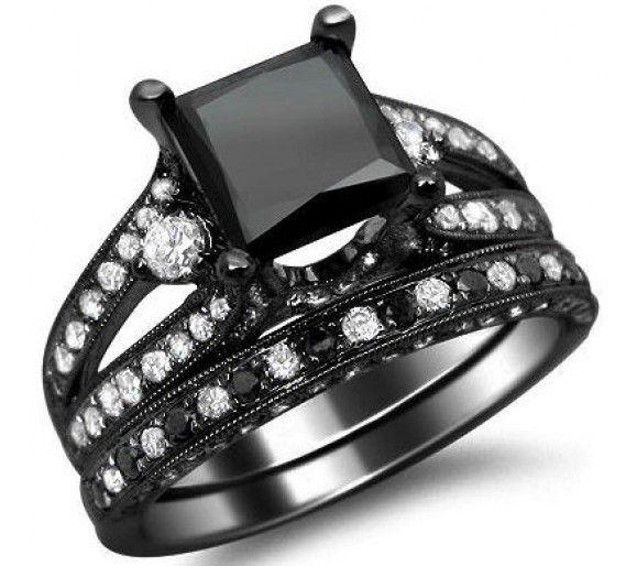 4.0ct Black Princess Cut Diamond Engagement Ring Bridal Set 18k Black Gold.