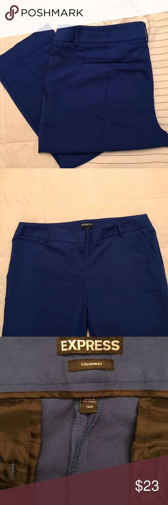 """Express Mid Rise Ankle  Columnist Pant Express Mid Rise Ankle  Columnist Pant. Mid-rise, slim fit. Zip fly and hidden hook closure. Slant hand pockets, welt back pockets. 34"""" waist, 36"""" long, 27"""" inseam. Polyester/Cotton/Elastane. Machine wash.  Great color for Spring! True to Express sizing. Very good used condition. Express Pants Ankle & Cropped"""
