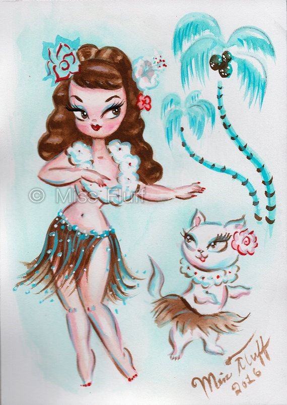 ORIGINAL Hula Girl with Kitty- Brunette - Watercolor painting