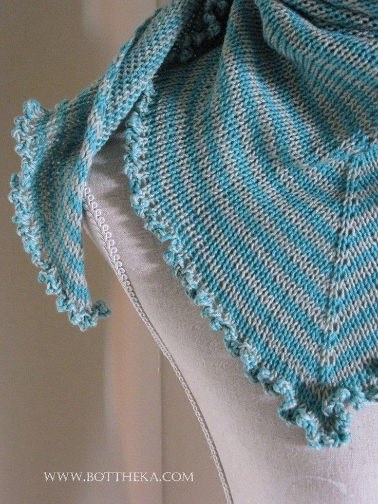 Stripe and wave - asymetric knitted cotton shawl http://bottheka.com/en/stripe-and-wave