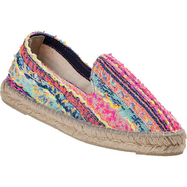 MANEBI Ibiza Flat Espadrille Neon Multi Fabric ($112) ❤ liked on Polyvore featuring shoes, sandals, multi fabric, braided sandals, flat shoes, flat espadrilles, manebi espadrilles and neon flat shoes