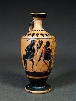 Όστρακο Αρχαία Τέχνη, αττική μελανόμορφη λήκυθος με Καθιστή άνδρες, 500-480 π.Χ.