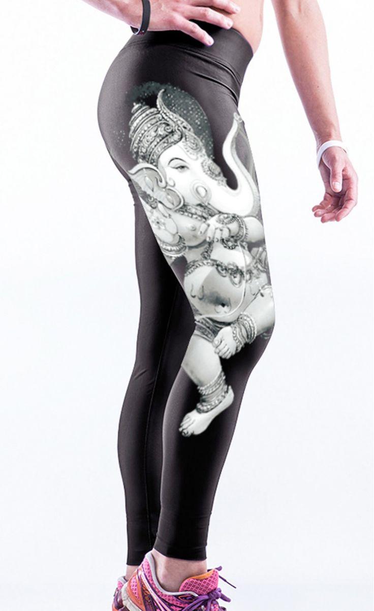 $24.99 Buddha Elephant Print Stretch Yoga Pants