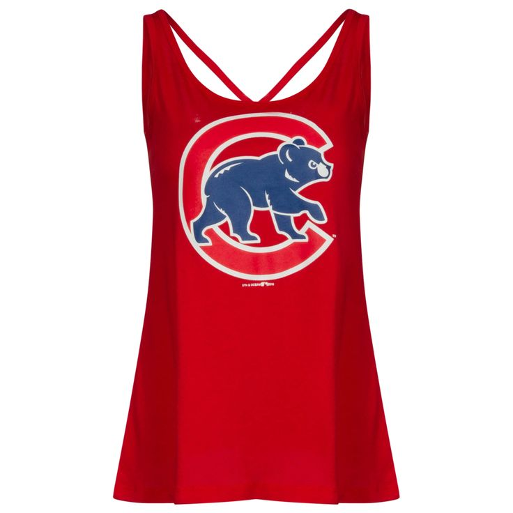 Chicago Cubs Women's Red Crawl Bear Crossover Tank Top by 5th & Ocean #Chicago #ChicagoCubs #Cubs