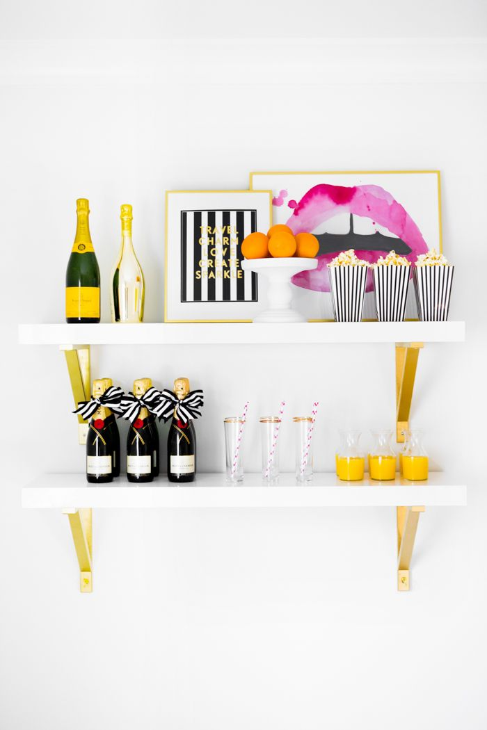 Three Ways to Style a Bar without a Bar Cart | The Everygirl