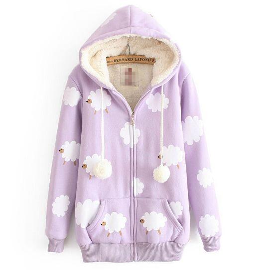 Japan fashion Cute kawaii fashion sheep coat hooded
