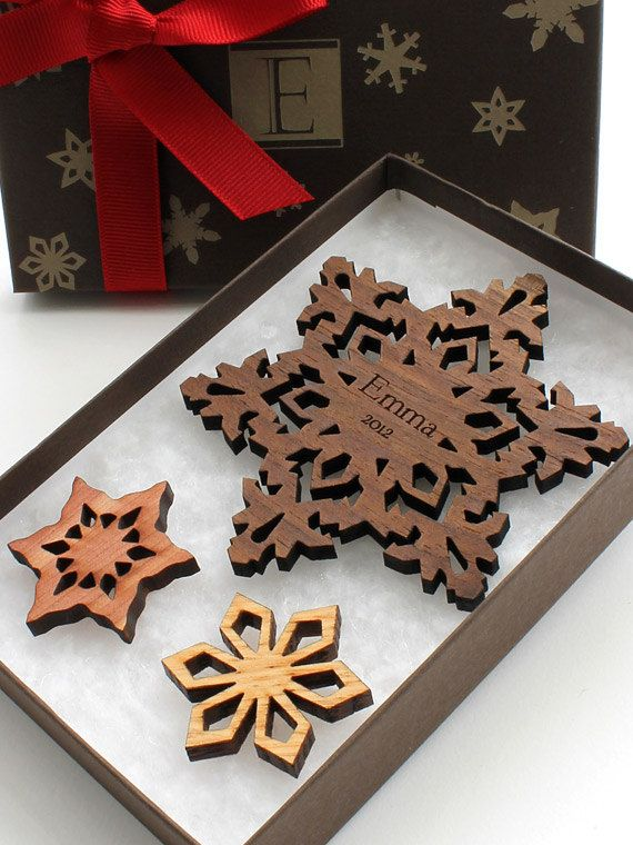 NameFlake Custom Wood Snowflake Ornament Gift Box Set - Sustainable Forestry Products . Timber Green Woods. $24,95, via Etsy.