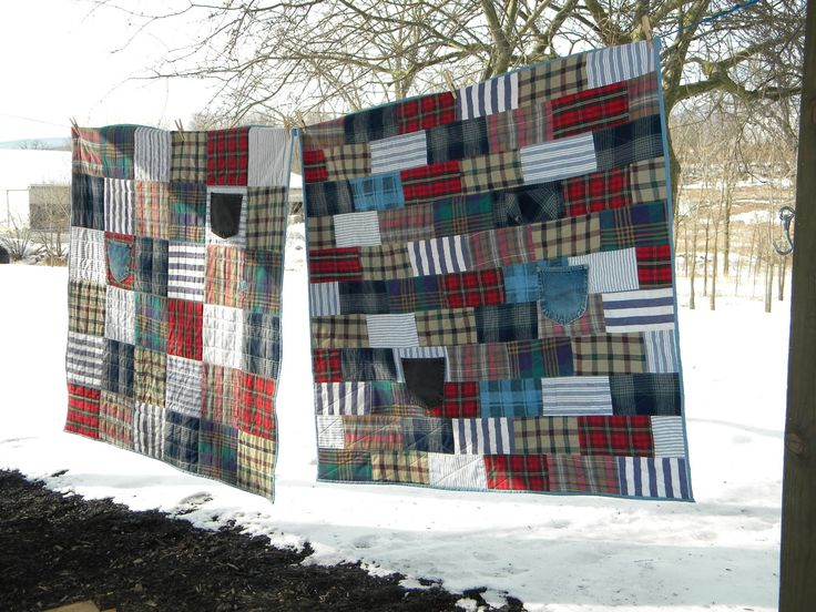 A friend from church asked me to make 2 throw-size quilts using his belated father's shirts and jeans.   These were flannel and cotton shi...
