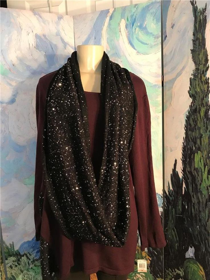 Style&Co. Plus 2X Purple/Black Sequin Sides Scarf Neck Long Sleeve Tunic Sweater #Styleco #Tunic #Work