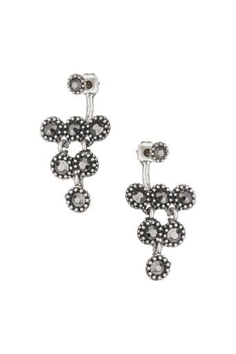 Silver Facet Front And Back Earrings