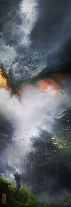 The Art Of Animation - Dragon flying over a fog filled valley Ignisia