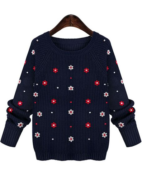 Blue Round Neck Long Sleeve Embroidered Floral Knit Sweater 17.67