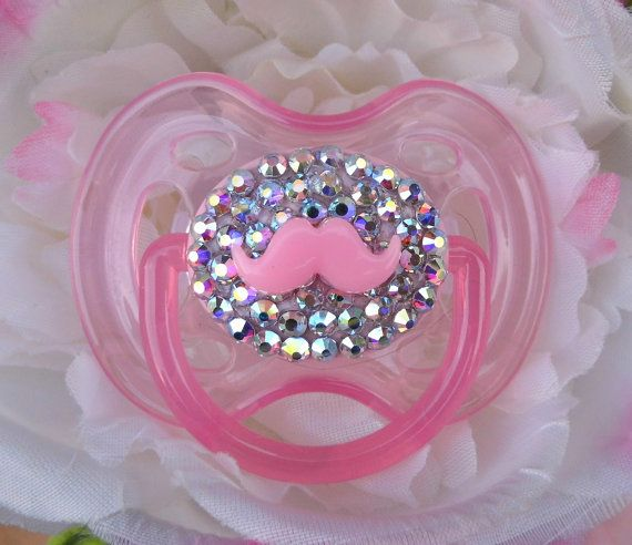 Bling Rhinestone Pacifier Paci Binky Mustache Baby by BeccaRooni, $16.00Baby Girl Paci, Do Baby, Baby Leigha, Baby Ideas, Baby Binkies, Baby Things, Future Baby, Baby Girls, Baby Stuff