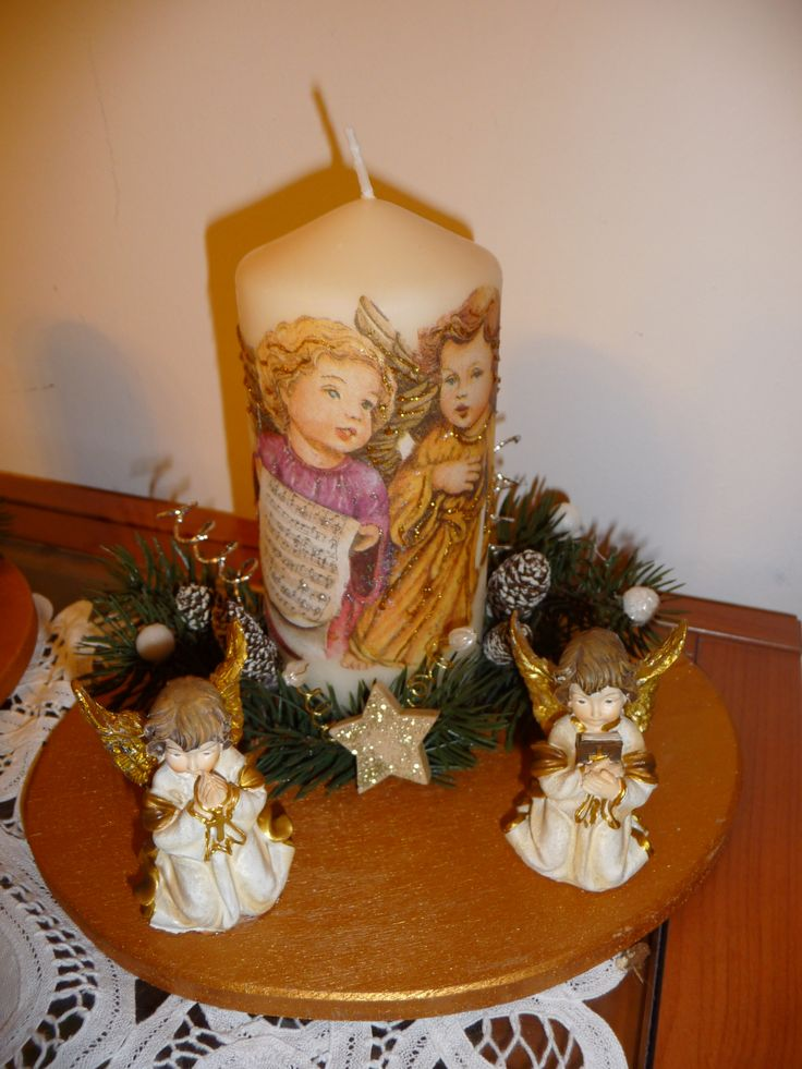 candela centrotavola con angeli