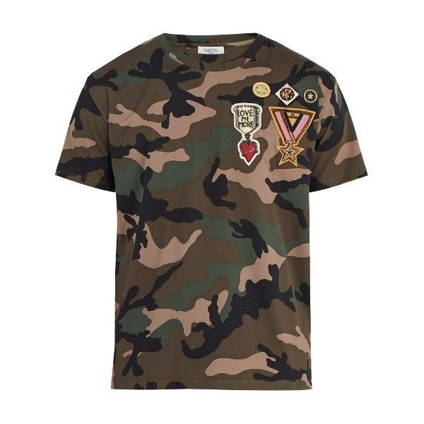 Valentino Camouflage-print cotton T-shirt ($1,150) ❤ liked on Polyvore featuring men's fashion, men's clothing, men's shirts, men's t-shirts, camouflage, mens slim fit shirts, mens camouflage shirts, mens military shirt, star wars mens shirts and mens military style shirt #menst-shirtspattern