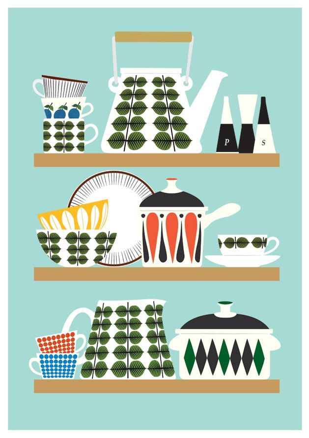 Retro kitchen print, mid century modern poster, stig lindberg, cathrineholm, art for kitchen, kitchenware illustration A2
