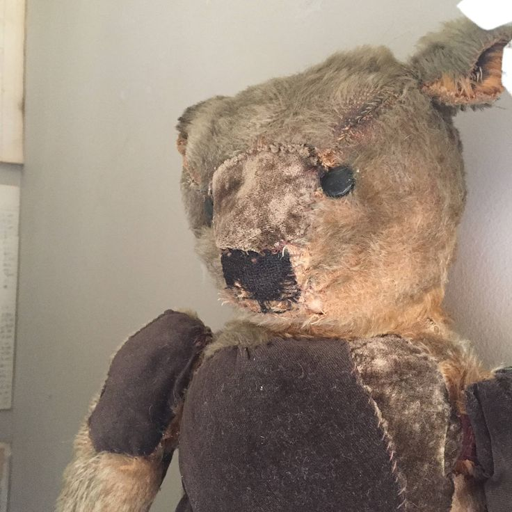 Antique teddy Bear, 100 year old mohair, shoe button eyes, hump back. by Eclecticpelican on Etsy