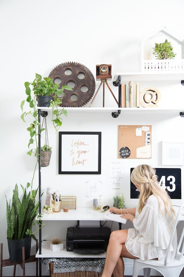 Sneak peek into Amber Thrane Of Dulcet Creative's chic, vintage-inspired office space featuring industrial-style shelving