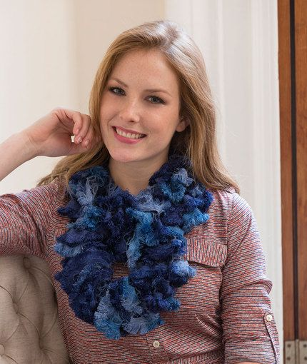 Infinite Ruffles Cowl Free Knitting Pattern in Red Heart ...