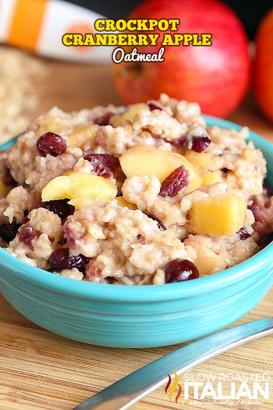 Cranberry Apple Crockpot Oatmeal is a simple recipe that is bursting with flavor. Sweet and creamy oatmeal speckled with chunks of apple and cranberry is a new favorite around here.
