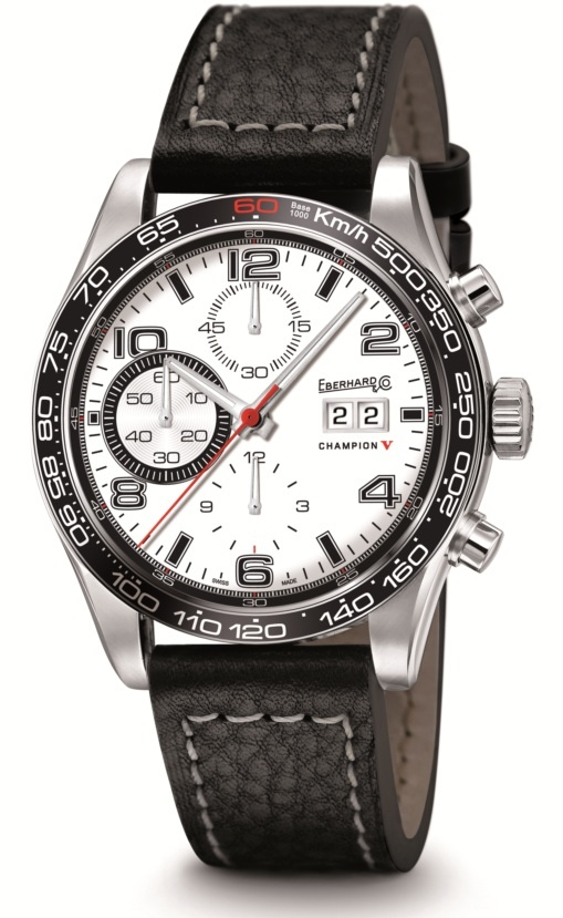 Champion V Grande Date  Ref 31064.1  Mechanical automatic winding chronograph. 42,80 mm steel case, convex sapphire glass anti-reflective, screw-in crown, caseback fixed by 6 screws, leather strap, steel buckle - 19 mm