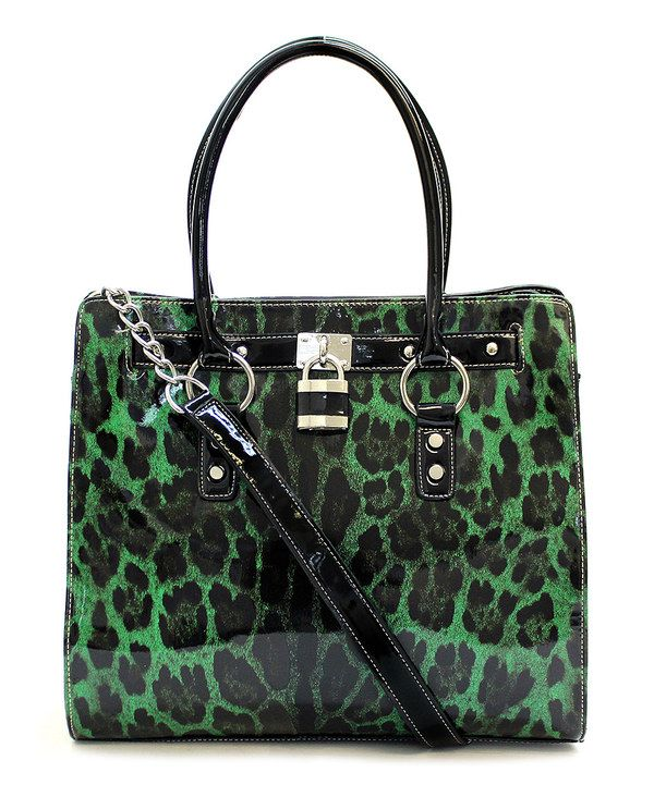 Look at this d'Orcia Green & Black Cheetah Lisa Tote on today!