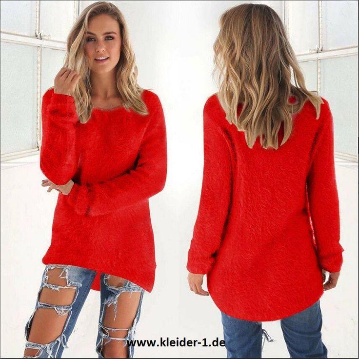 Flauschiger Damen Pullover in Rot