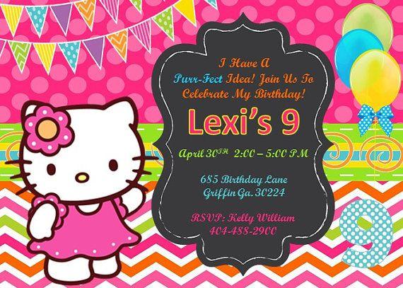 Hello Kitty Invitation Hello Kitty Birthday Hello by kellylynn1973