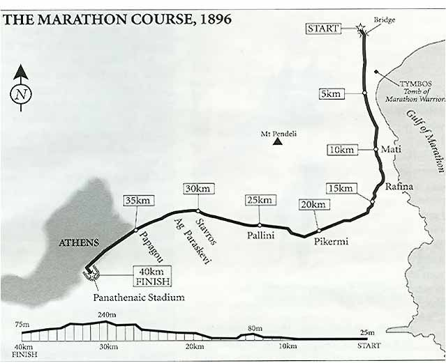 The Marathon Course for the first of the modern Olympic games in Athens, Greece in 1896. The race ended at Panathenaic Stadium, the same place the 2004 marathon ended as well.