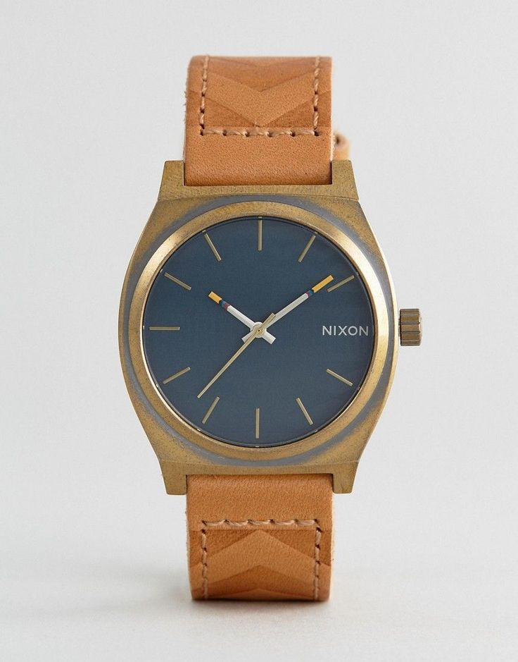 Nixon Local Time Teller Leather Watch In Tan - Tan