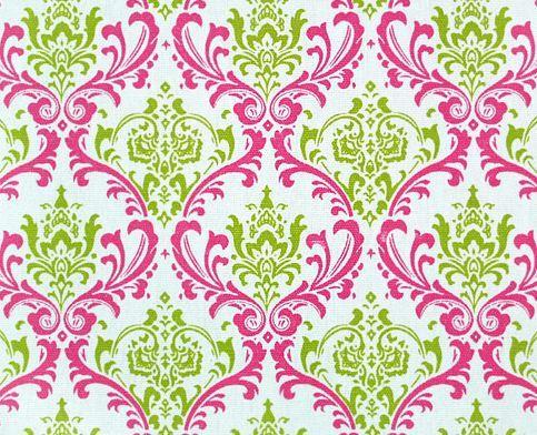 Damask Curtain Panels Chartruese Green Fuchsia and White Damask Drapery Window Treatments Set SALE. $105.00, via Etsy.