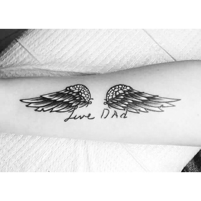 Grandfather memorial tattoo, written in his handwriting