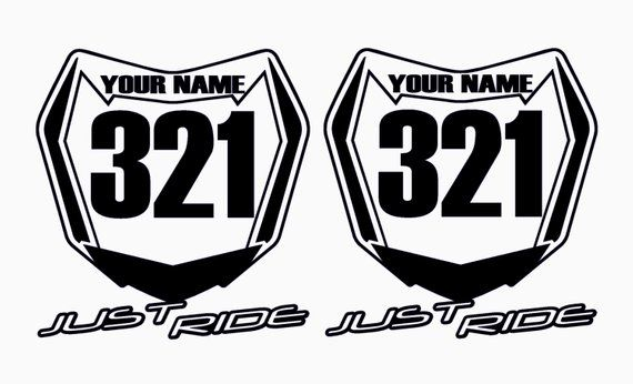 Motocross Number Plate Decal Sticker Custom Name Number Mx Moto