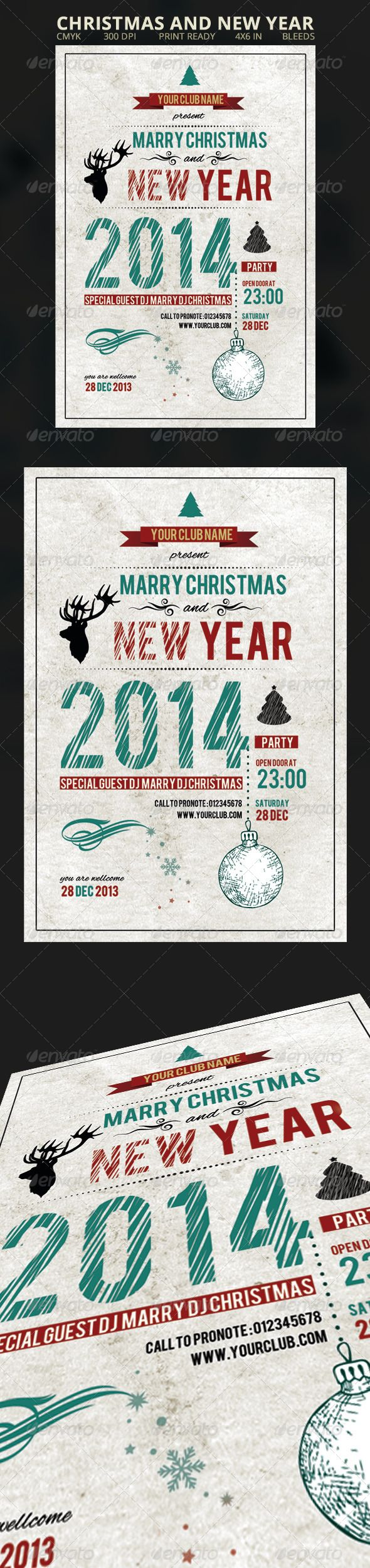 """Christmas and New Year Flyer #GraphicRiver Christmas and New Year Flyer Fully layered 1 PSD Easy to costumise 4×6""""(.25"""" bleed) 300dpi Print ready CMYK Fonts used are free Bebas: .dafont /bebas.font Alex-brush: .fontspace /typesetit/alex-brush Created: 5 December 13 Graphics Files Included: Photoshop PSD Layered: Yes Minimum Adobe CS Version: CS Print Dimensions: 4x6 Tags Christmas Dinner #bash #celebration #christmas #christmas party #cristmas flyer #design #dinner #elegant #flyer #gig…"""