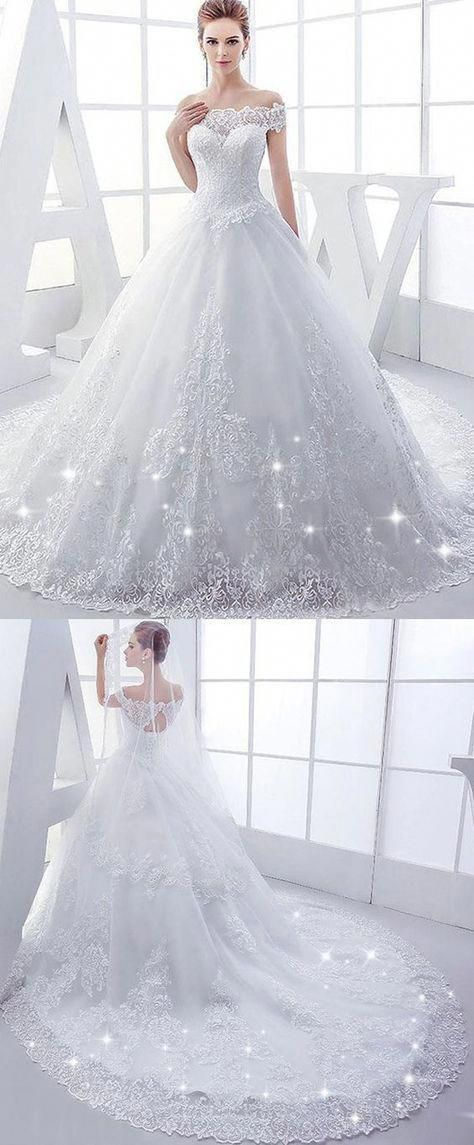 Elegant Tulle Off-the-Shoulder Ball Gown Wedding Dresses with Lace Appliques