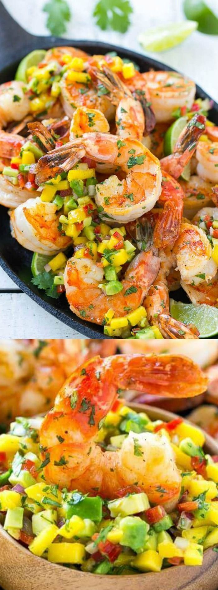 This Cilantro Lime Shrimp with Mango Avocado Salsa from Dinner at the Zoo is a quick dinner (or appetizer) that is full of awesome flavor and color! The best part is that it's ready in just 20 minutes making it the perfect weeknight meal!