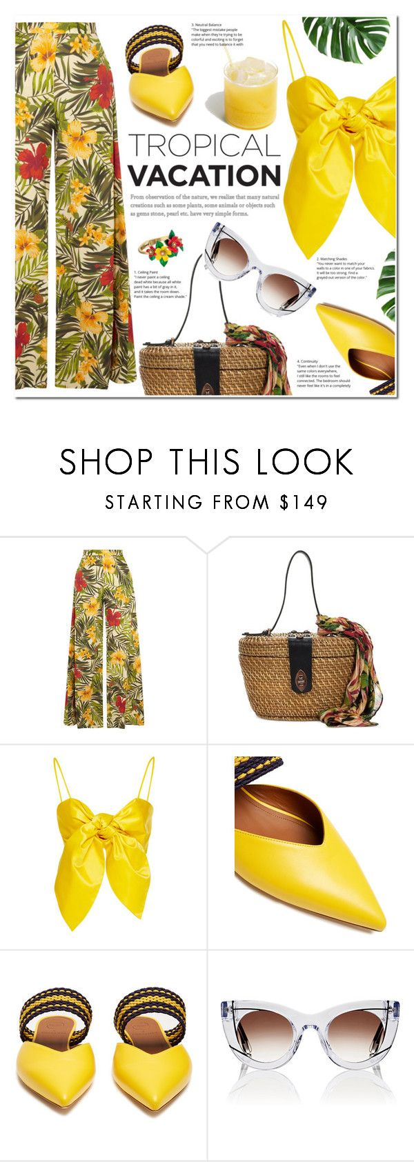 """""""Welcome to Paradise: Tropical Vacation"""" by nabilazfr ❤ liked on Polyvore featuring Miguelina, Patricia Nash, Leal Daccarett, Roksanda, Thierry Lasry, Betsey Johnson and TropicalVacation"""