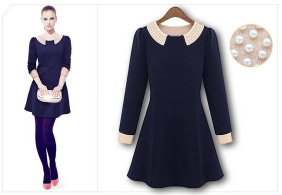 Fashion Long Sleeve Dress with Beads on Shoulder for Spring Autumn