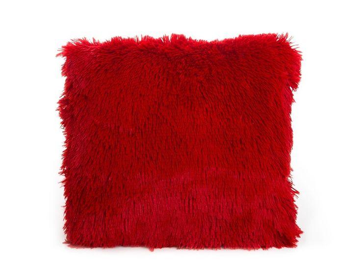 Chlpatá obliečka na vankúš červenej farby 40x40 cm