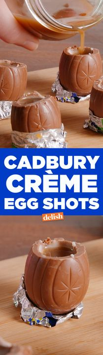 Tag your fun cousin who will do Cadbury Creme Egg Shots with you this year. Get the recipe from Delish.com.