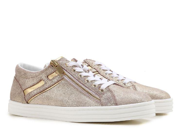 Hogan Rebel women's low top sneakers in gold leather - Italian Boutique €182