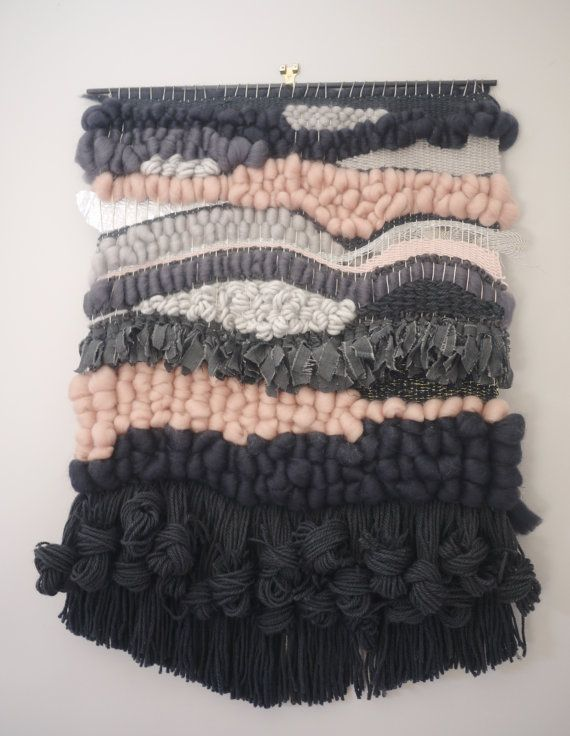 Woven wallhanging. Lovely handmade weaving in greys and pinks. Perfect for any room! Approx 6-8 weeks delivery from payment. Dimensions: 19w x 26L