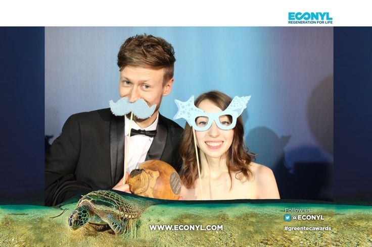 Anastasia Bondarenko with Galileo Wissenspreises - ECONYL® at the GreenTec Awards 2015 in Berlin. The Green Carpet was made by Vorwerk using ECONYL® regenerated yarn coming from fishing nets, old carpets and other pre-consumer waste. At the event we had also a photo booth with funny props inspired by our regeneration of carpets, nets and by the marine world we are fighting to save. #ethical #fashion and #design#sustainability