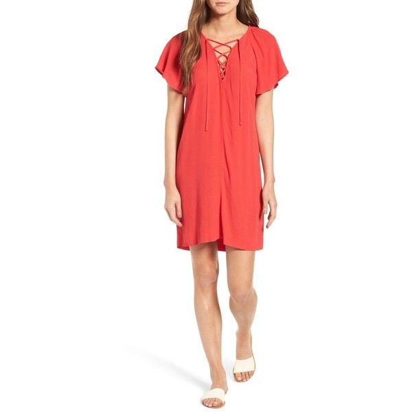 Women's Madewell Flutter Sleeve Minidress ($98) ❤ liked on Polyvore featuring dresses, true red, short dresses, red dress, summer party dresses, party dresses and ruffle dress