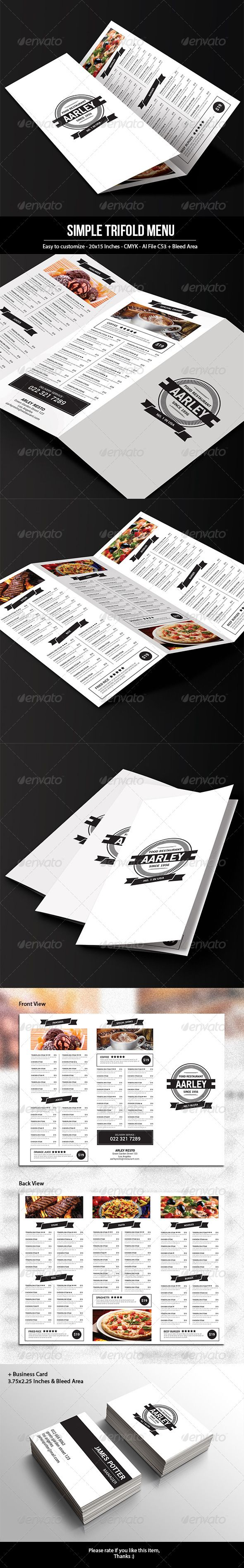 Simple Trifold Menu Template #design #speisekarte Download: http://graphicriver.net/item/simple-trifold-menu/7769853?ref=ksioks