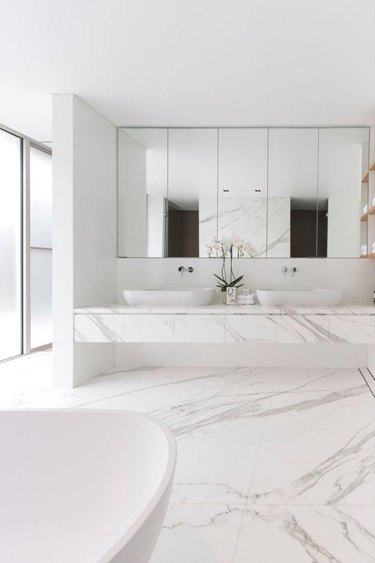 all white bathroom pinterest. bathroom design idea - 5 ideas for adding marble to your // floor all white pinterest