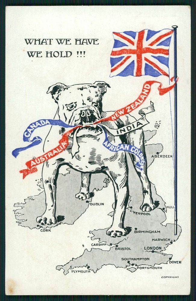 Bulldog dog England Map Boer War patriotic caricature propaganda 1900s postcard