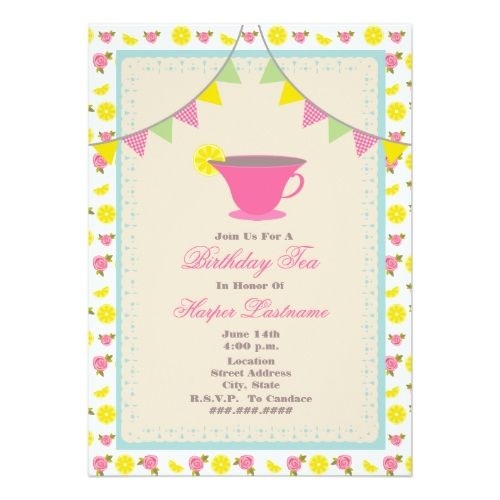 241 best Tea Party Birthday Party Invitations images – Invitation for Tea Party