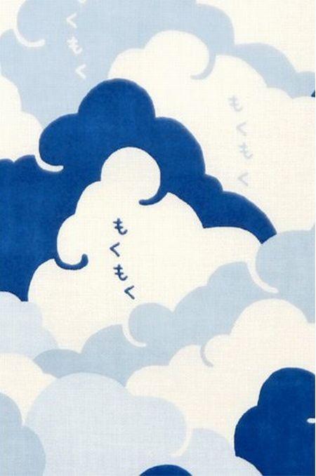 Japanese Tenugui Cotton Fabric, Cloud Design, Japanese Pattern, White & Blue, Hiragana, Hand Dyed Fabric, Modern Art Wall, Home Decor, JapanLovelyCrafts