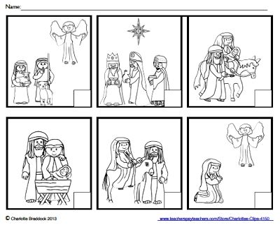 Faith Filled Freebies - Nativity Story Sequencing Cards or Worksheet.  A gift from Charlotte's Clips.